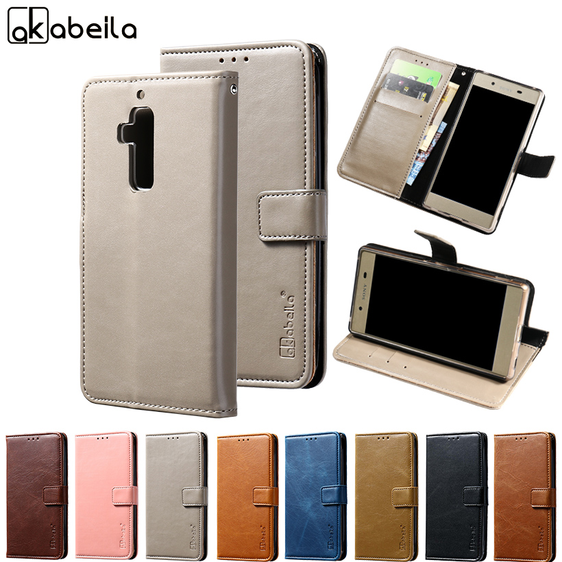 AKABEILA PU Flip Leather Cases For Homtom S8 Case Luxury Wallet Bags Coque For Homtom S8 Cover With Card Slot 5.7 inch