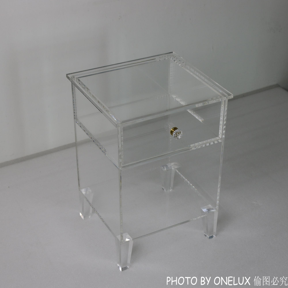 Clear Plexiglass Bedside Drawer Table,Acrylic Nightstand Single Drawer,Lucite End  Sofa Cabinet Table free shipping shelf clear acrylic lucite bedside table plexiglass nightstand