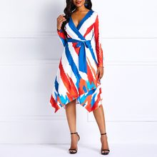 Women Sexy Striped Dress Elegant Vintage Print Color Block Dress Casual  Office Tunic Swing Asymmetric African Lady Midi Dress df14b0819c98