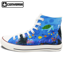 Converse All Star Hand Painted Shoes Women Men Custom Design Seaworld Creatures High Top Sneakers Gifts Presents