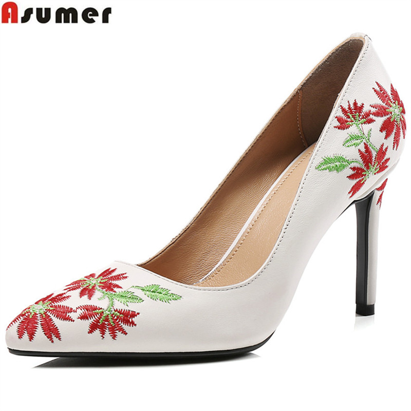 ASUMER pink white fashion pumps shoes woman pointed toe elegant wedding shoes thin women genuine leather high heels shoes bowknot pointed toe women pumps flock leather woman thin high heels wedding shoes 2017 new fashion shoes plus size 41 42