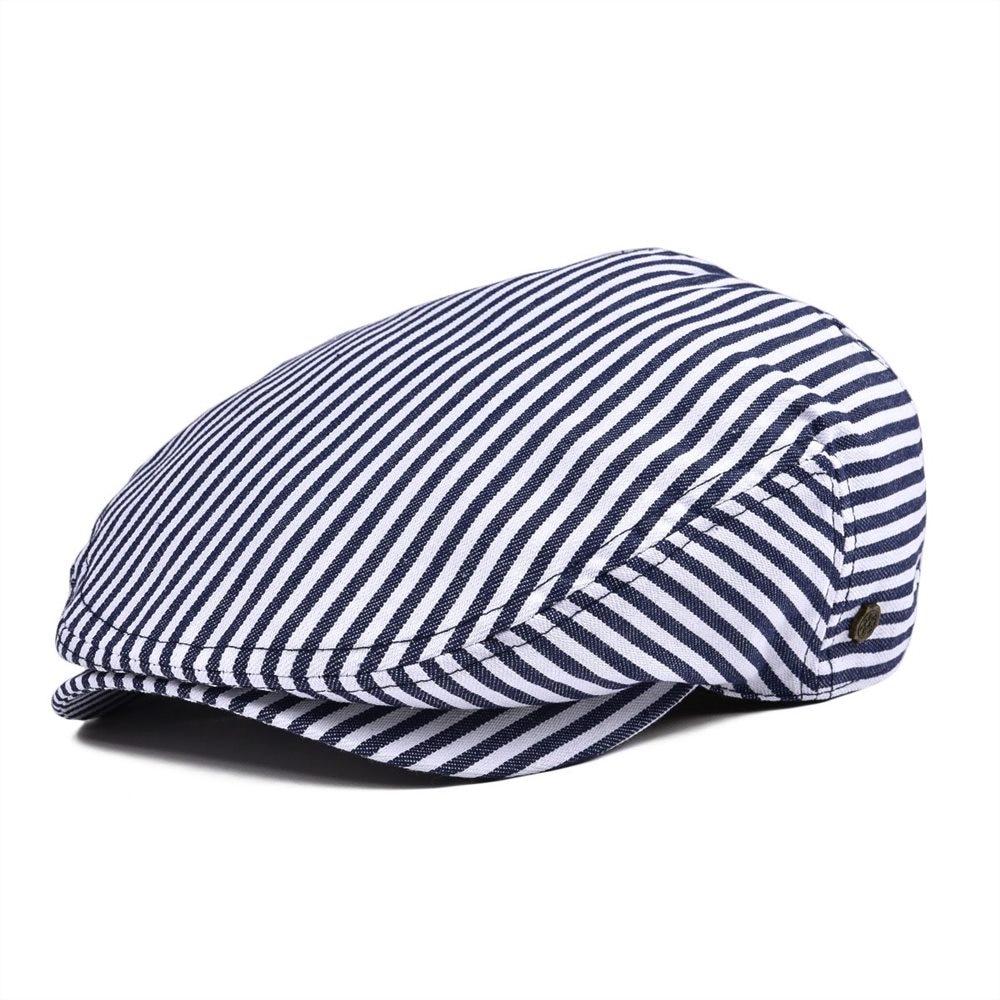 VOBOOM Summer Flat Cap Navy Blue Stripe Ivy Caps Men Women Cotton Gatsby Hat Newsboy Beret 149