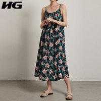 HG Women 2019 Summer New Korea Fashion O neck Sleeveless Loose Dress Female Print Pattern Draped Spaghetti Strap Dress ZQ2284