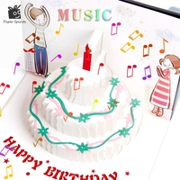 Vintage Postcards Handmade Colour 3D Pop UP Kirigami Musical Greeting Cards Birthday Paper With Mini Gift