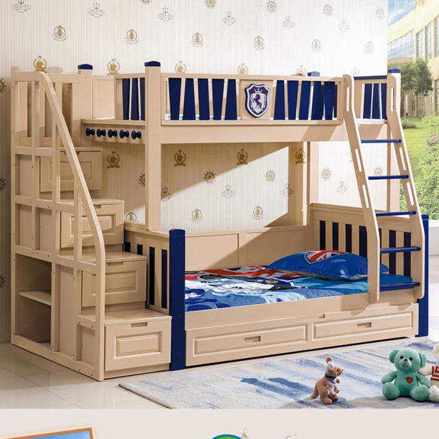 High quality solid wood children bunk bed for kids-in