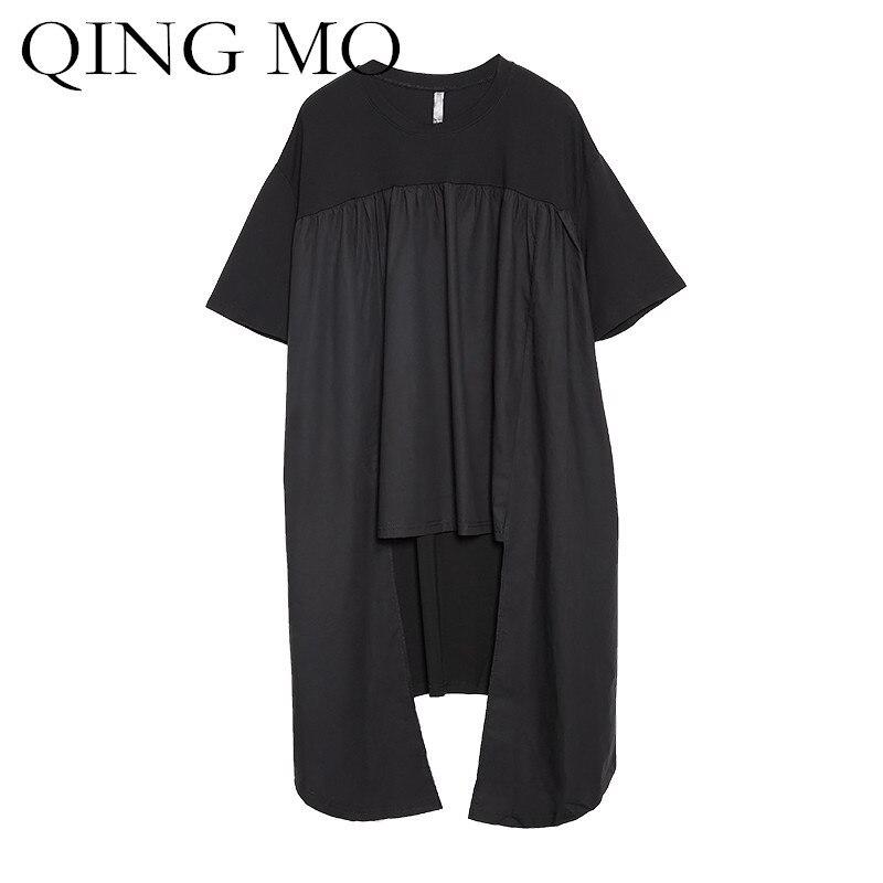 QING MO 2018 Plus Size Shirt for Women Short Sleeve Black Summer Tops & Tees Asymmetrical Long Shirt Oversized T Shirt ADQ132