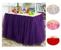 מוצקה 31.5 ''גובה פוליאסטר עבודת יד טול חצאית חתונה ושולחן צד שולחן חתונה עקף שמלת טוטו עם פרח קטן
