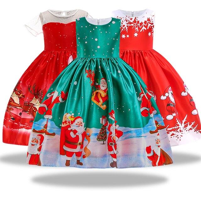 חדש שנה ילדה חג המולד שמלת תינוק חורף שלג חג ילדי בגדי מסיבת ילדי סנטה קלאוס תלבושות מתנה 3-10 שנים
