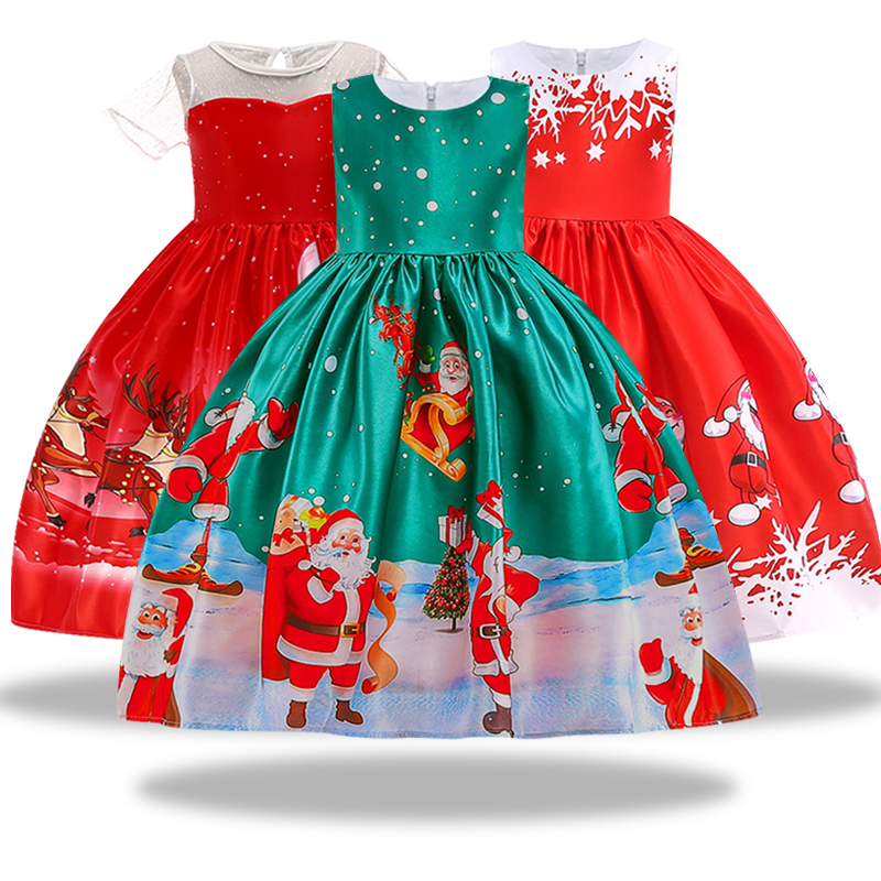 New Year Girl Christmas Dress Baby Winter Snowman Holiday Children Clothing Party Kids Santa Claus Costume Gift 3-10 years old santa claus holiday printed pillow case