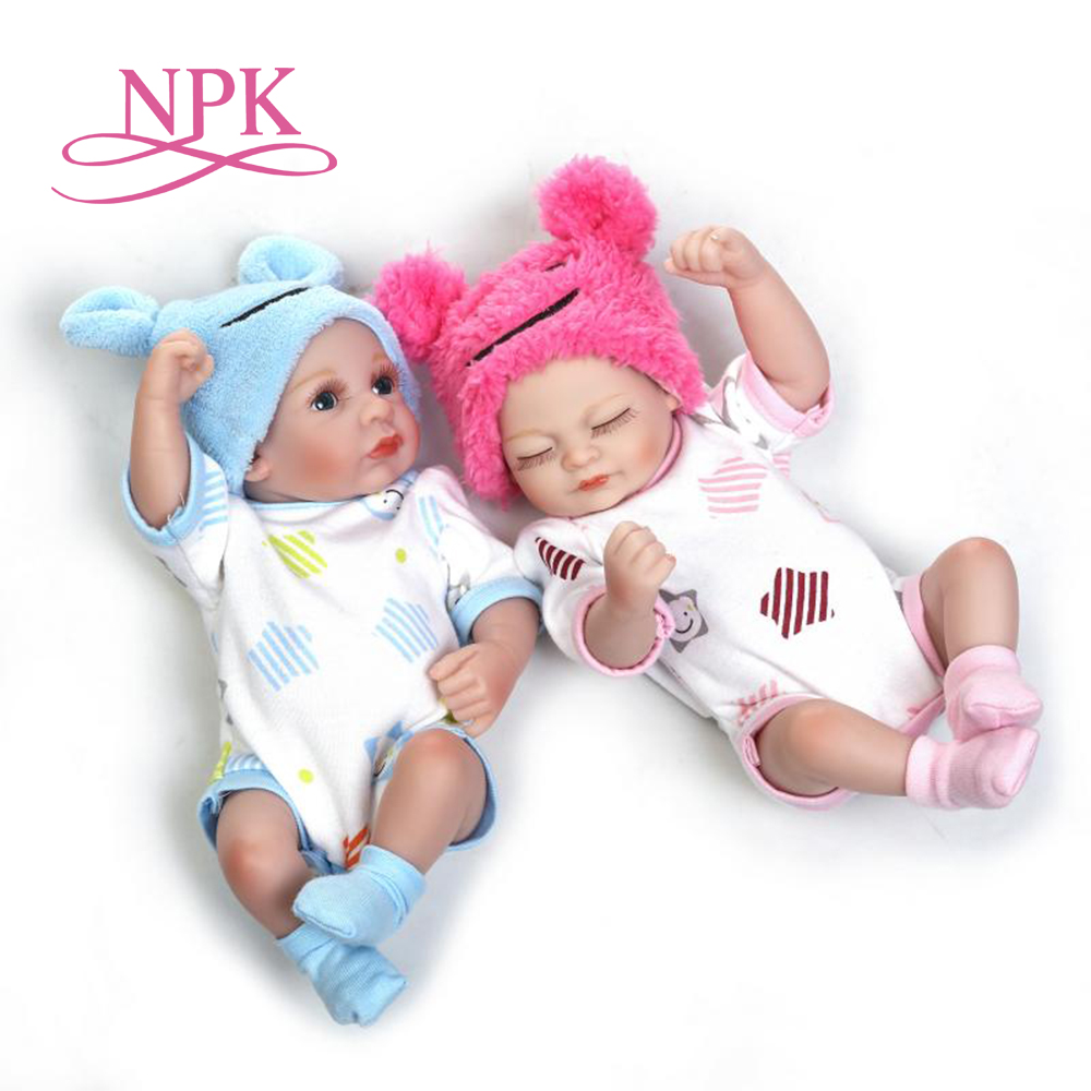 NPK 25 cm Weichem silikon reborn twins babys lebensechte mini neugeborene baby puppe geburtstagsgeschenk geschenk