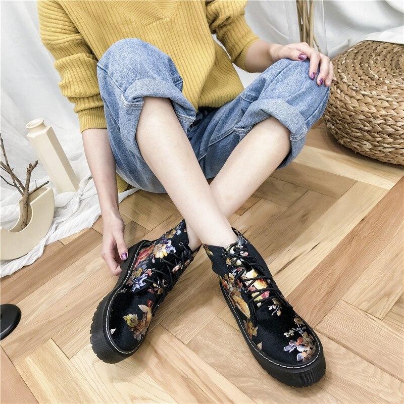 2018 Court Croix Bottes 35 Plate Cravate Designers Fleur Noir Mode Marque Femme 40 Imprimer Miulamiula Confortable forme Chaussures Cheville w0FSnE61qx
