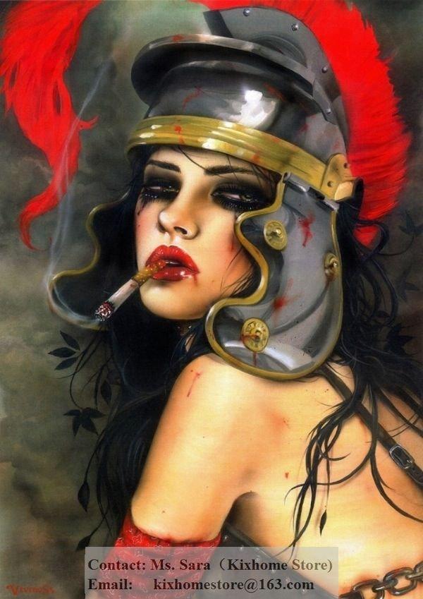 Girl Smoking Art Painting