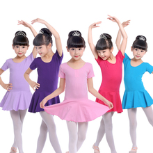 Free shipping Childrens dancers girls cotton spring summer long sleeves short performing Ballet Dance leotard Dress