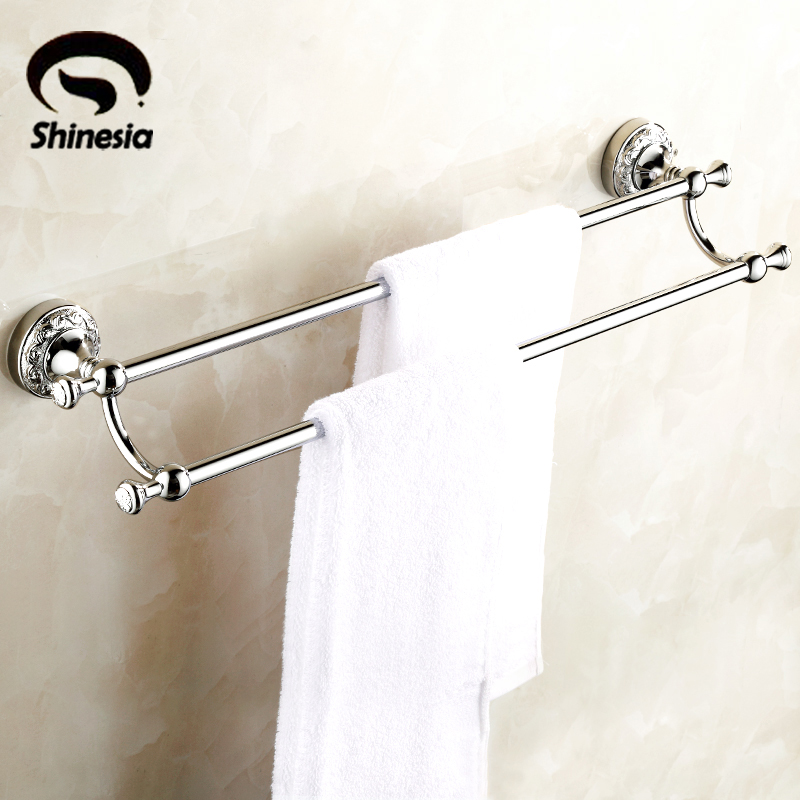 Chrome Polished Retro Carved Bathroom Towel Rack Solid Brass Double Towel Bars Towel Holder Bathroom Accessories okaros bathroom double towel bar 60cm towel rack towel holder solid brass golden chrome plating bathroom accessories