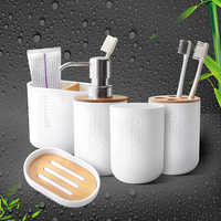 Bamboo Soap Dish Soap Dispenser Toothbrush Holder Soap Holder Bathroom Accessories
