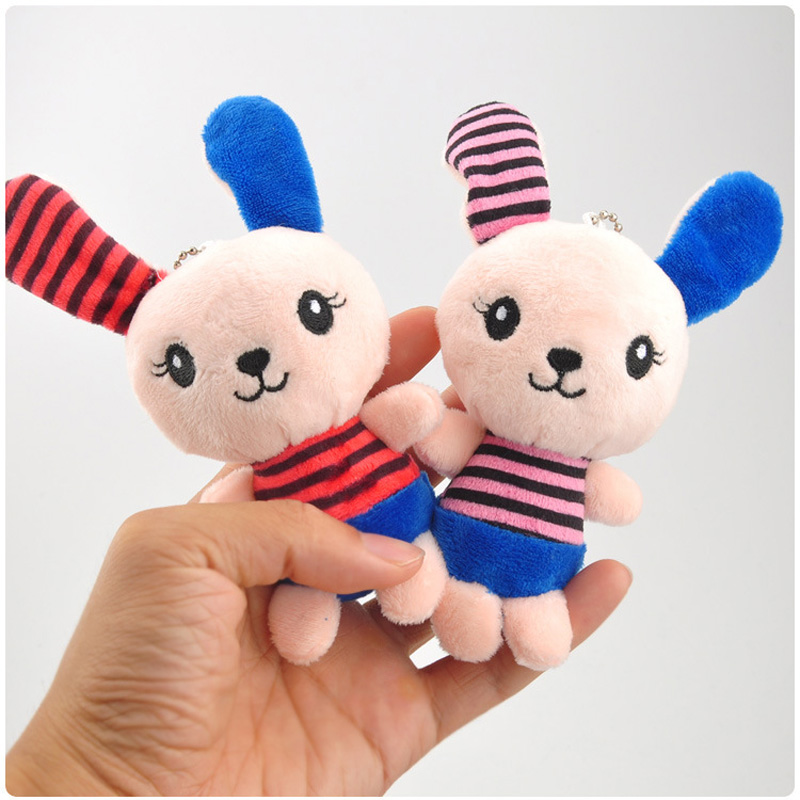 1PCS 15CMLong Ear Cute Rabbit Plush Small Pendant Cartoon Striped Rabbit Plush Toy Bag Doll Hanging Ornaments Toy Activity Gift in Stuffed Plush Animals from Toys Hobbies