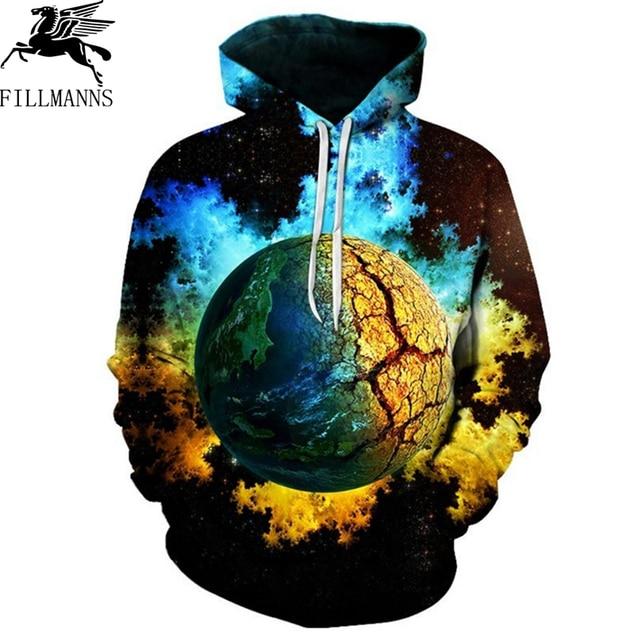 FILLMANNS Space Universe planet Hoodies Hooded Men/Women Hat 3d Sweatshirts Print Colorful Nebula Thin Autumn Sweatshirts