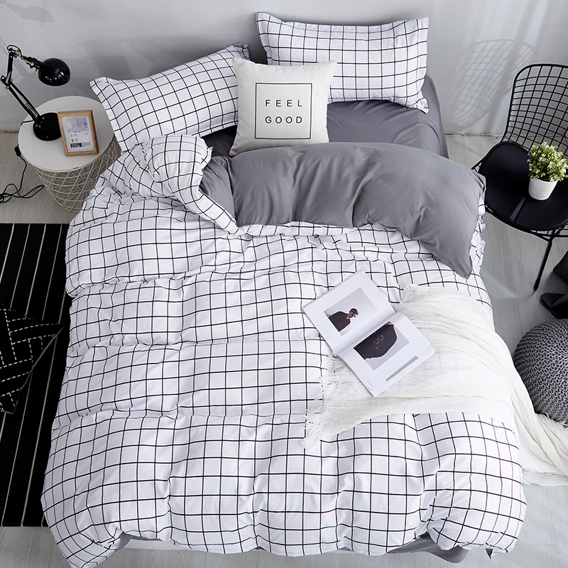 Bonenjoy Queen Size Bedding Set White Color Black Plaid Microfiber Reactive Printed King Size Bed Linen Sets For Bedroom Kit