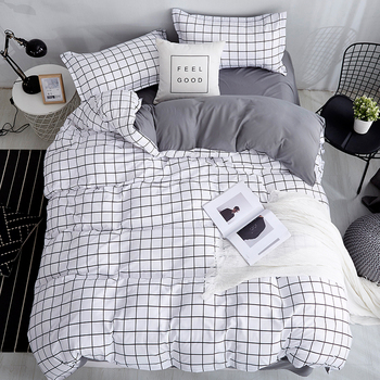 Bonenjoy rozmiar Queen powłoczki biały kolor czarny Plaid mikrofibra drukowanie reaktywne łóżko typu King Size pościel zestawy do sypialni zestaw tanie i dobre opinie Brak Arkusz Zestawy Kołdrę poszewka Tkanina z mikrofibry 1 2 m (4 stóp) 1 8 m (6 stóp) 1 5 m (5 stóp) 1 35 m (4 5 stóp)