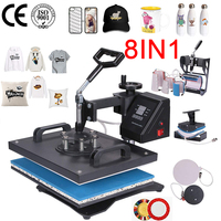 doubl display 30*38CM 8 in 1 Combo Heat press Machine Sublimation Printer 2D Heat Transfer Machine for Cap Mug Plate Tshirts CE