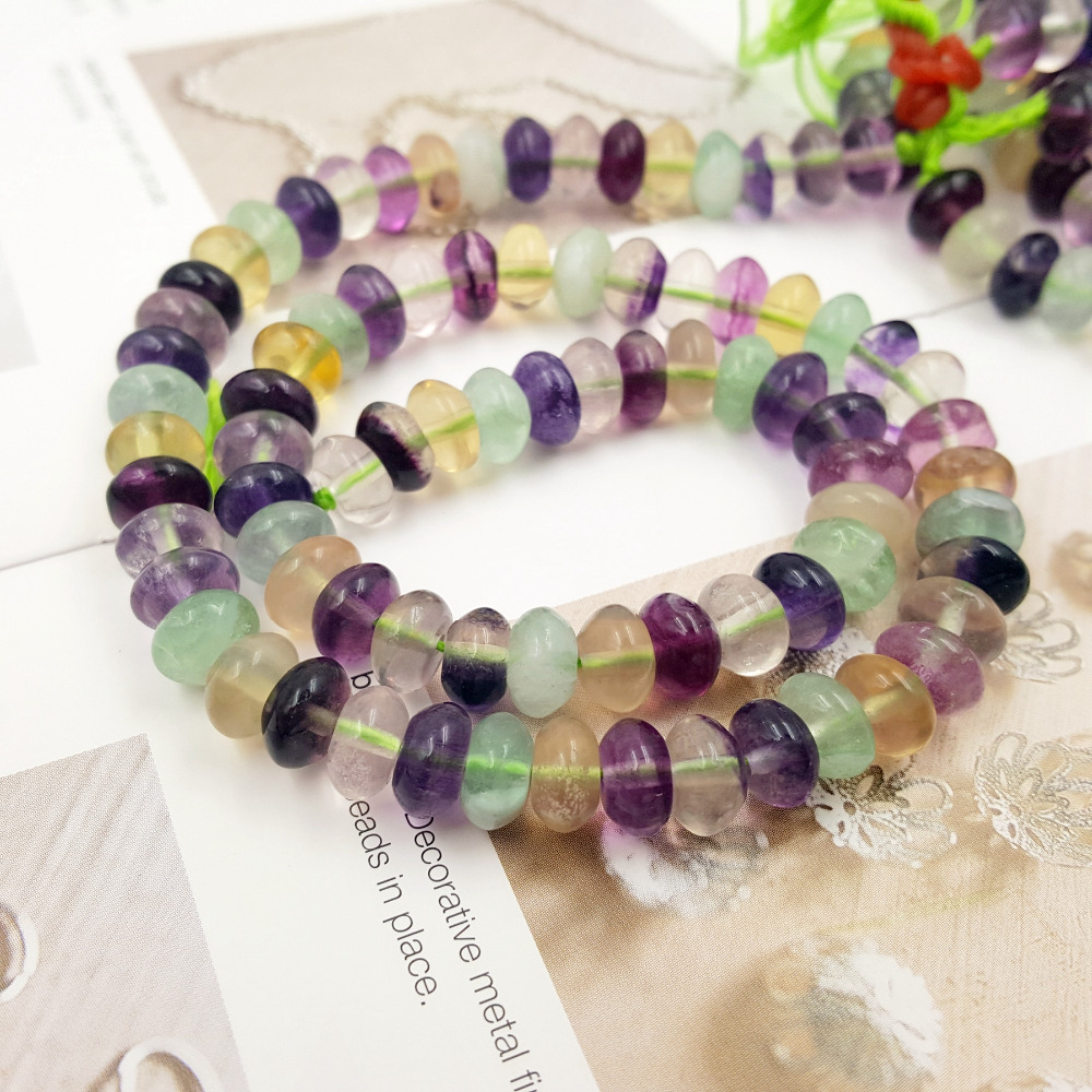Lii Ji Gemstone Natural Stone Fluorite Flat Round shape beads 5x8mm for DIY Jewelry Making Bracelet Necklace Approx 39cm lii ji natural gemstone charoite bracelet approx 12x20x7mm for women fine jewelry