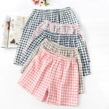 Новая летняя пара клетчатые шорты хлопок марля тонкая пижама брюки гостиная сон одежда для женщин брюки