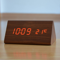 Modern Exquisite Wood Clocks Wooden Unique Big Numbers Digital LED Calendar Thermometer Voice Alarm Weather Station