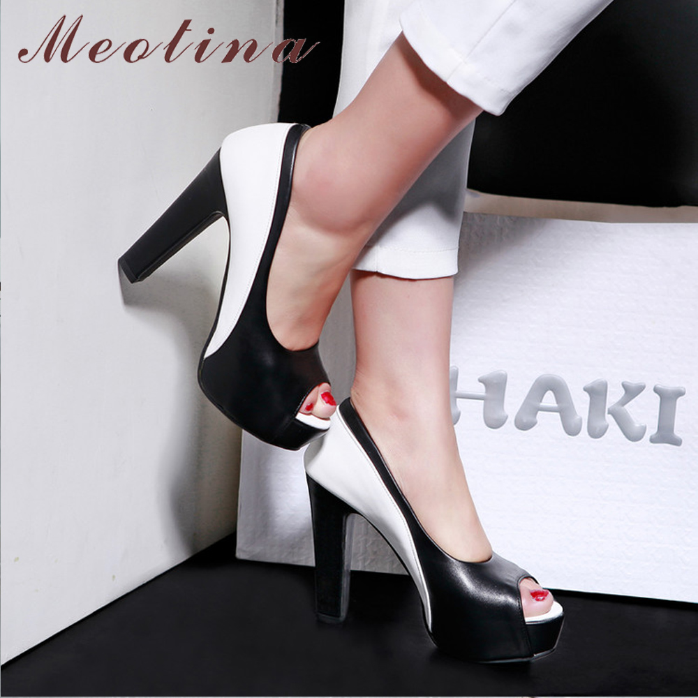Meotina Shoes Women Pumps-Spring Platform-Spike Mixed-Colors Office High-Heels Blue Big-Size
