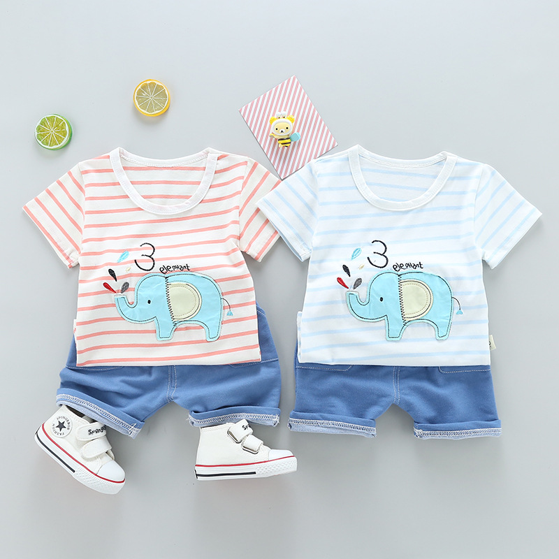 f083697a6 2018 summer stripe t shirt+blue pants 2pcs boys clothes suit elephant baby  boy clothing set for 0~2age newborn clothes outfits-in Clothing Sets from  Mother ...