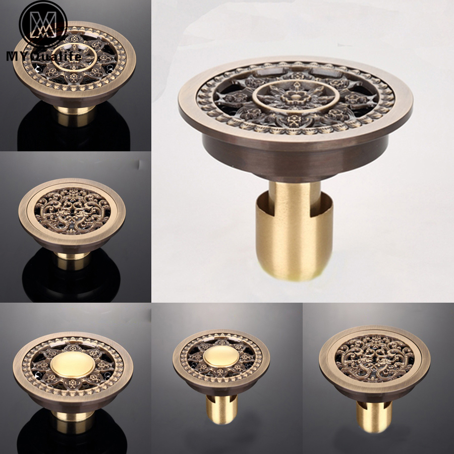 Creative Round Floor Drain Brass 4 Bathroom Floor Waste Drain Antique Brass Cover Shower Drain цена