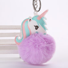 Unicorn pompom Keychain fashion Fake Rabbit fur ball Fluffy Key Chain Horse Bag Car Keyring Charms Bag accessories gift for girl(China)