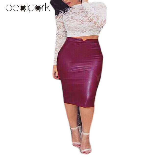 Hot Sale Women Soft PU Leather Skirt High Waist Slim Hip Pencil Skirts Vintage Bodycon OL Midi Skirt Sexy Clubwear Plus Size