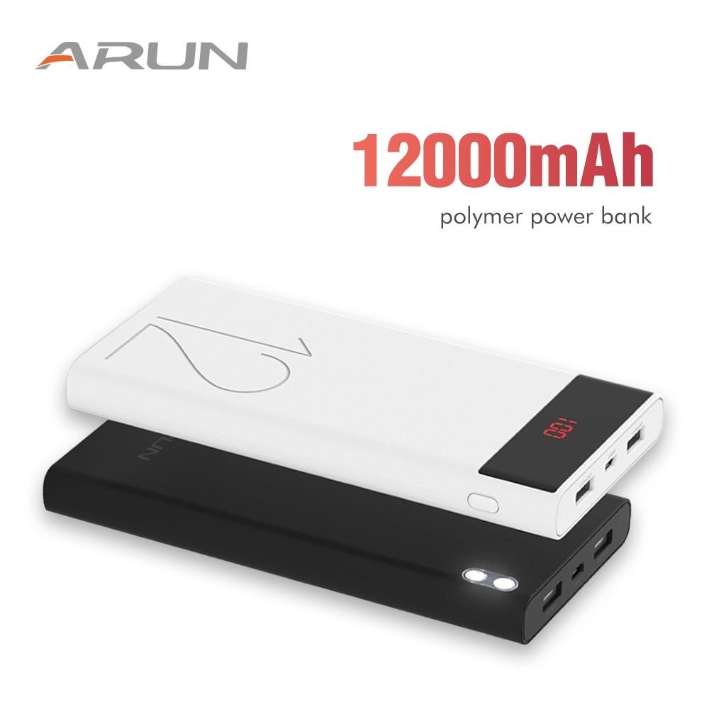 ARUN 12000 mah Power Bank LCD Tragbare Telefon Batterie Ladegerät power bank Dual USB Externe Batterie Ladegerät Für xiami PhonesTable