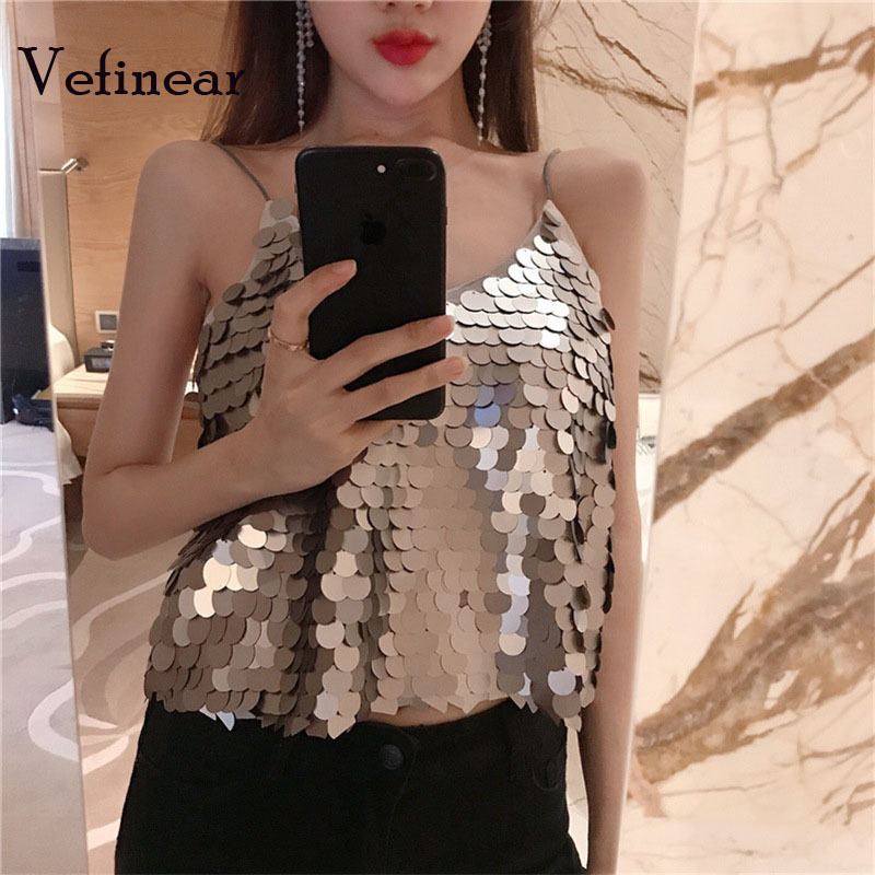 Vefinear Women Sexy Fashion Sequined Party crop Top Blusas Mujer De Moda2018 Summer Pattern Silver Paillette Camisole Blouse
