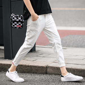 Image 2 - jantour Spring summer New Casual Pants Men Cotton Slim Fit Chinos Ankle Length Pants Fashion Trousers Male Brand Clothing 27