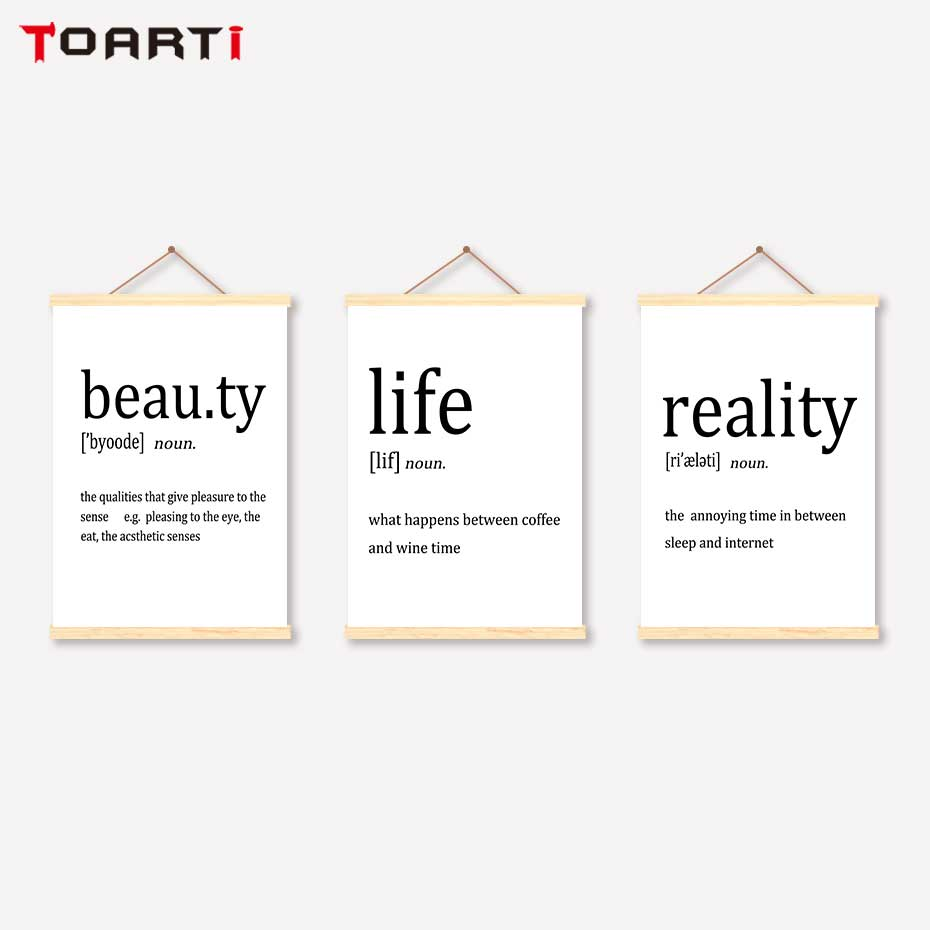 Modern Life Quotes Scroll Canvas Painting Beauty Reality Motivational Prints Posters Hanger Art Decorative Pictures For Home