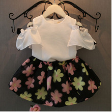 Bonjour Bobo 2017 Bébé Fille Enfants Vêtements Filles T-shirt + Fleur Jupe Costume de Vêtements Ensemble Fille Vêtements