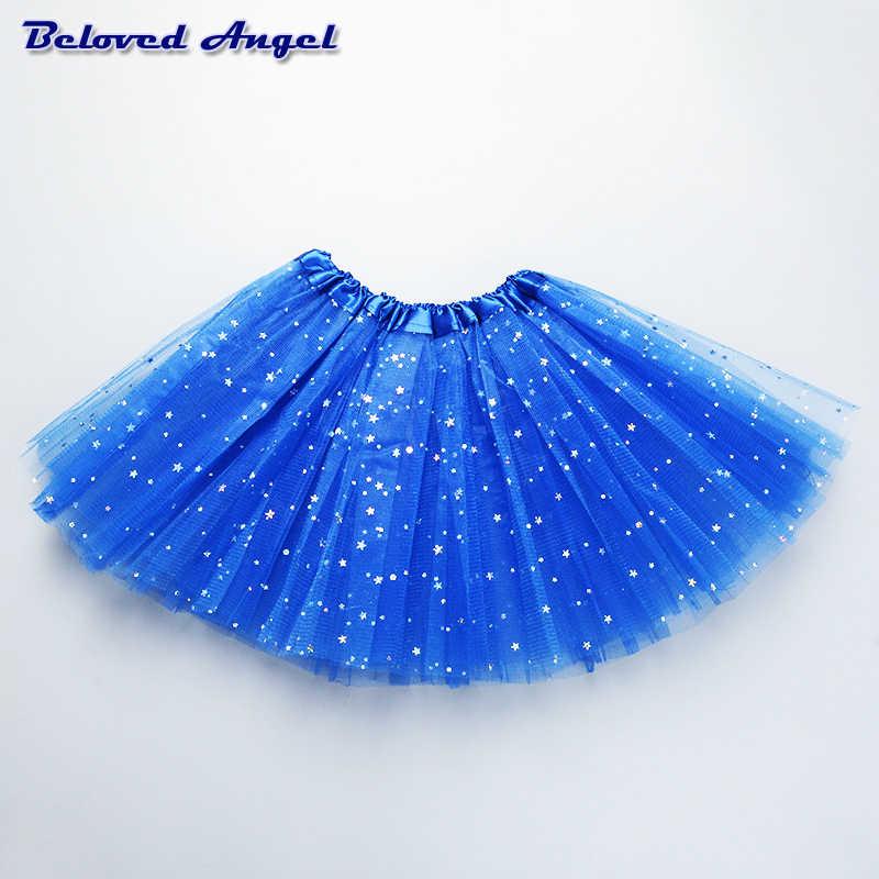diseño innovador 06d18 4b5f4 2019 falda de verano para niñas adolescentes tutú con estampado de  estrellas de malla falda para niños ropa de bebé traje de baile de Ballet  falda de ...