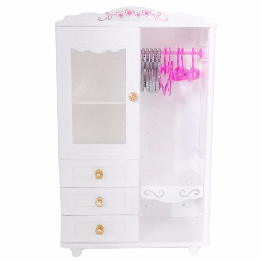 1x 1:6 Plastic Wardrobe Clothespress Dollhouse Furniture + 5x Mixed Pink Hangers 5x Gray Hangers Accessories For Barbie Doll Toy