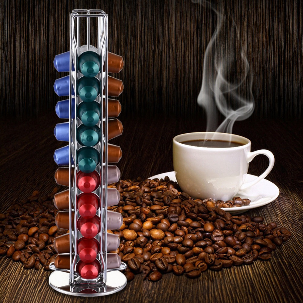 2019 Nespresso Coffee Pods Holder Rotating Rack Coffee Capsule Stand Nespresso Capsules Storage Shelve Organization Holder Sets