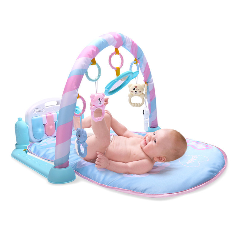 Fitness Bodybuilding Frame Pedal Piano Music Play Mat Blanket Activity Gym Kick Play Lay Sit Toy For 0-36 Months baby