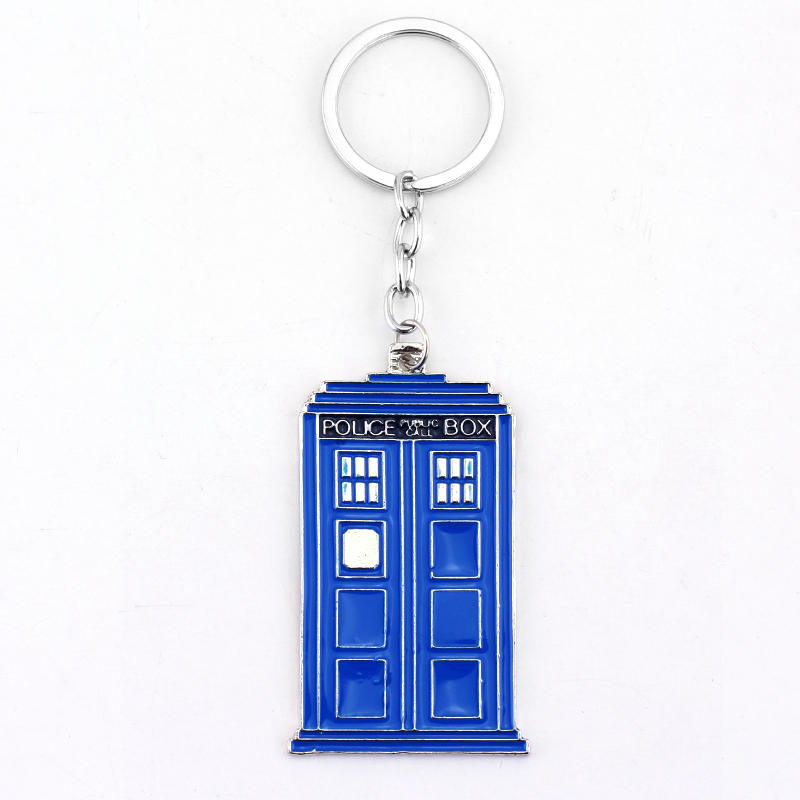 RJ Fashion Movie Dr Who Blue Police Box Letter Keyring Doctor Who Logo Men Keychain Pendant Dalek Tardis Police Box Chaveiro