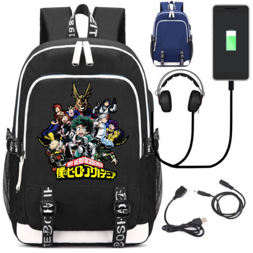 Anime My Hero Academia School Backpack USB Charge Interface Travel Laptop Shoulder Bag Anime Cosplay Men