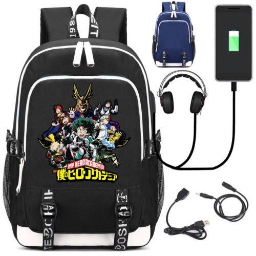 Anime My Hero Academia School Backpack USB Charge Interface Travel Laptop Shoulder Bag Anime Cosplay Men Women Cartoon Backpacks