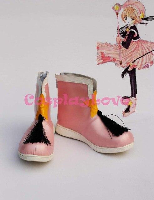 SAKURA KINOMOTO Cosplay Shoes Boots Custom Made Pink 2