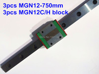 Kossel Pro Miniature 12mm linear slide: 3pcs MGN12 - 750mm + 3pcs MGN12C block for X Y Z axies 3d printer parts