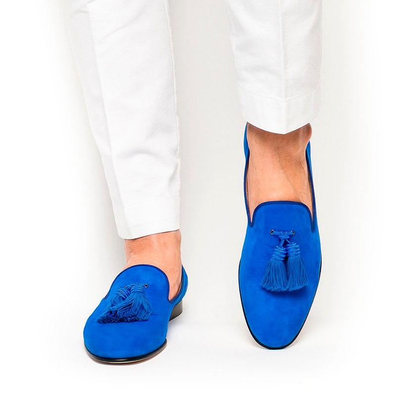 Royal Blue Suede Men Shoes Tassel