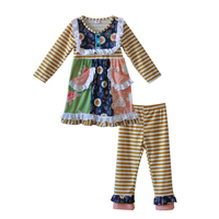 Vitage Style Cute Girls Botique Clothing Brown Pink Print Bib Dress With Pocket Infant Striped Legging