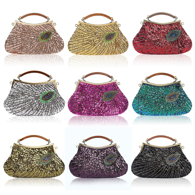 New Vintage Lady Beaded Sequins Peacock Wedding Evening Shoulder Bag Clutch  Luxury Handbags Women Bags Designer 2018 1245327e6c7be
