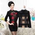 Mother Lace Long Sleeve T-Shirt For Fall/Winter Bottom Shirt Plus Size Women's Plaid Warm Clothing Slim Pullover Top With Velvet